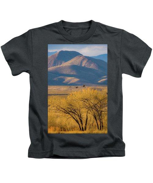Sandhill Cranes Near The Bosque Kids T-Shirt