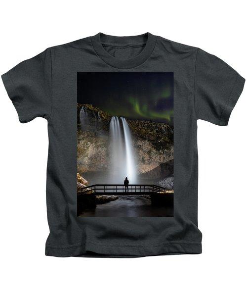 Seljalandsfoss Northern Lights Silhouette Kids T-Shirt