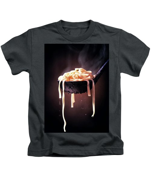 Serving Cooked Fettuccine Steaming Hot Kids T-Shirt