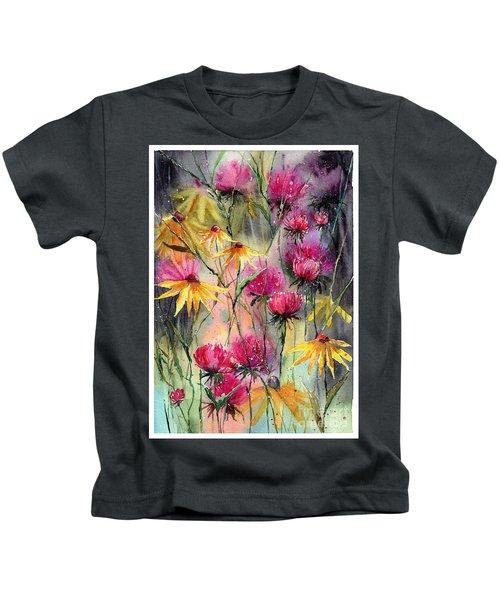 Shiny Rudbeckia And Thistle Kids T-Shirt