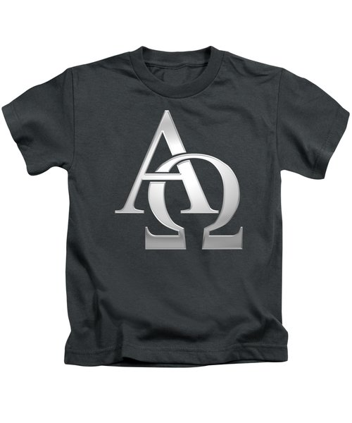 Silver Alpha And Omega Symbol Kids T-Shirt