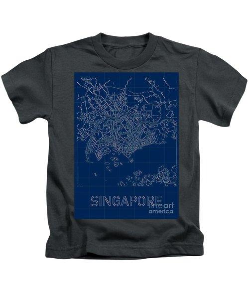 Singapore Blueprint City Map Kids T-Shirt