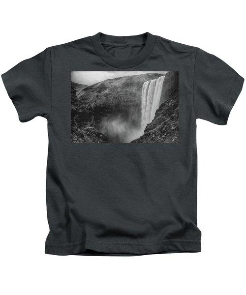 Skogafoss Iceland Black And White Kids T-Shirt