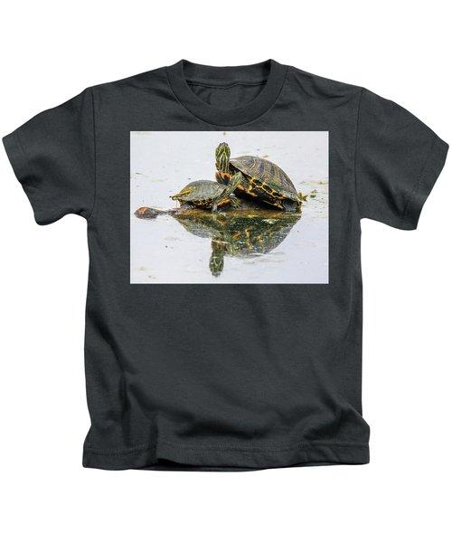 Slider Turtle Reflections Kids T-Shirt
