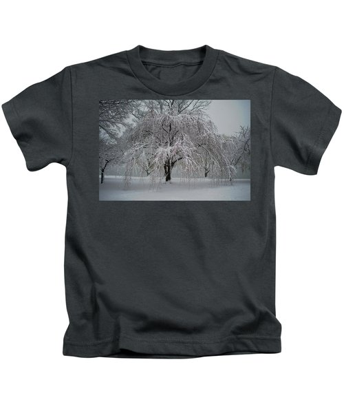 Snow And Mist By The River Kids T-Shirt