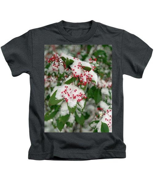 Snow Covered Winter Berries Kids T-Shirt