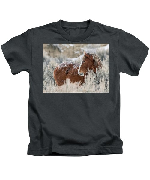 Snow Dusted Mustang Stallion Kids T-Shirt