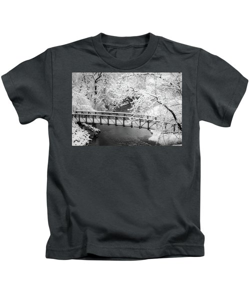 Snowy Bridge On Mill Creek Kids T-Shirt