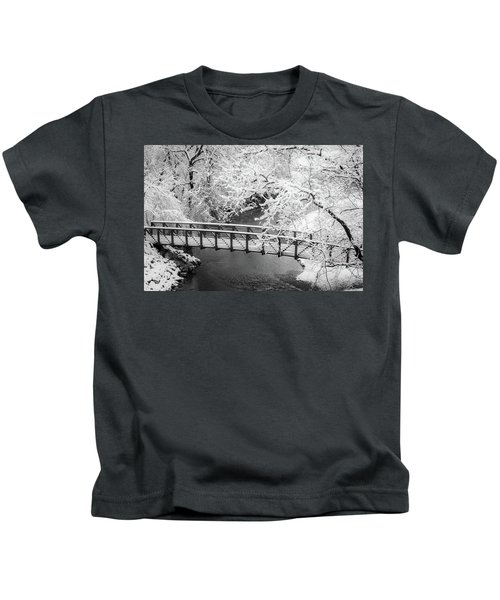 Snowy Bridge On Mill Creek Kids T-Shirt