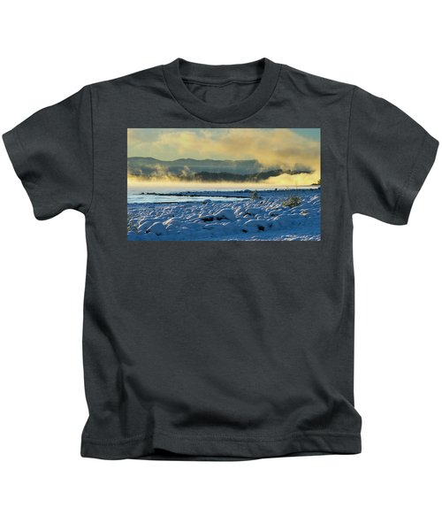 Snowy Shoreline Sunrise Kids T-Shirt