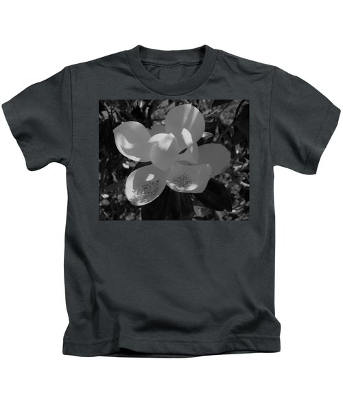 Southern Magnolia In Black And White Kids T-Shirt