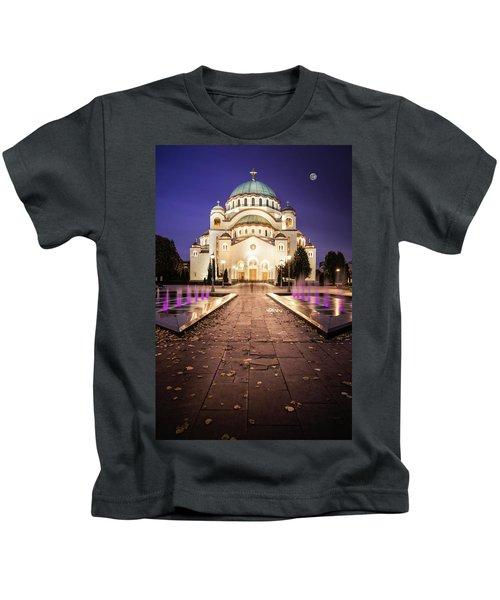 St. Sava Temple In Belgrade Nightscape Kids T-Shirt