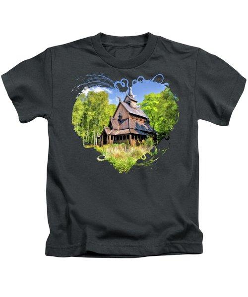 Stavkirke Church On Washington Island Door County  Kids T-Shirt