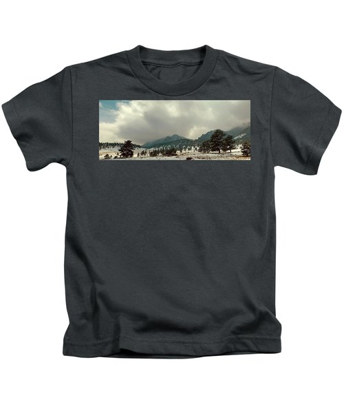 Storm Clearing Over Flatirons Kids T-Shirt