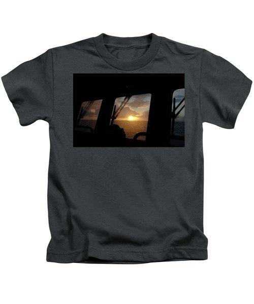 Sunset At Sea Kids T-Shirt