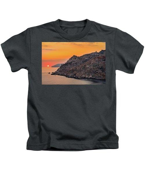 Sunset Near Cape Tainaron Kids T-Shirt