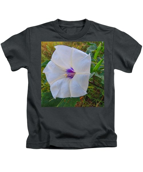 Kids T-Shirt featuring the photograph The Perfect Flower - Sacred Datura by Judy Kennedy