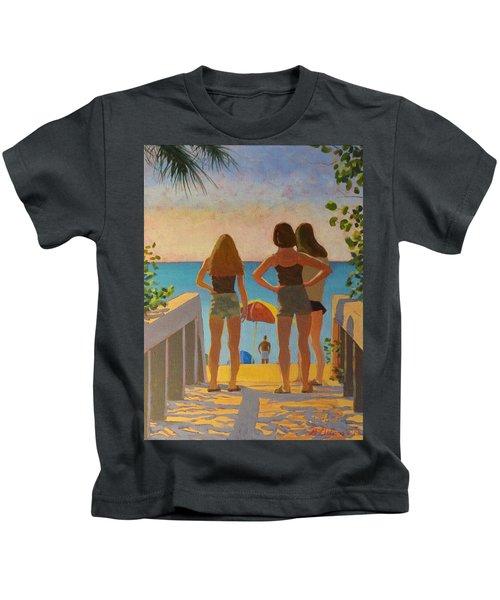 Three Beach Girls Kids T-Shirt