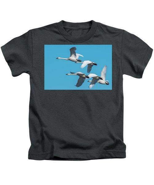 Tundra Swans In Flight Kids T-Shirt