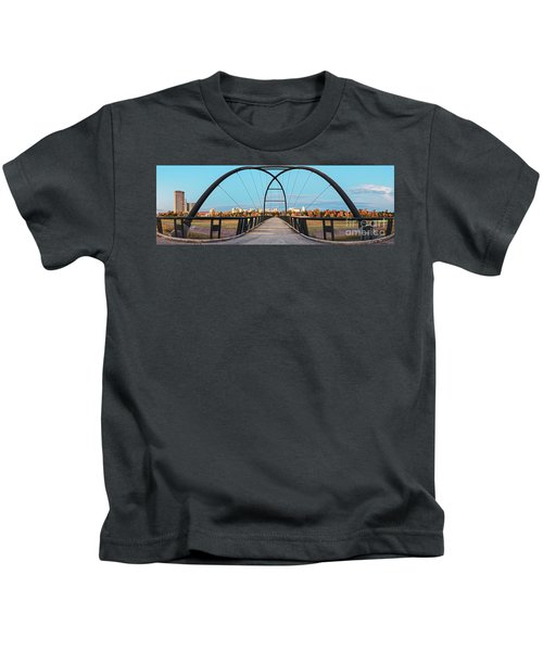 Twilight Panorama Of Bill Coats Bridge Over Brays Bayou - City Of Houston Texas Medical Center Kids T-Shirt