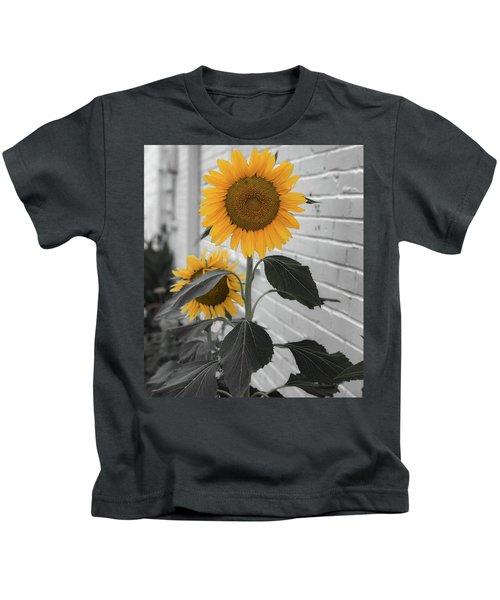 Urban Sunflower - Black And White Kids T-Shirt