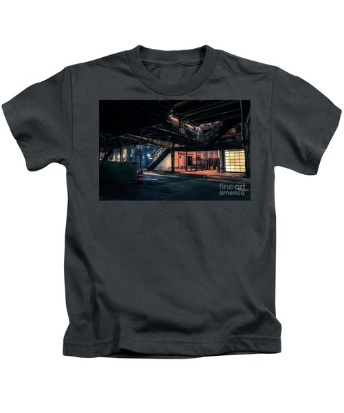 Vintage Chicago L Station At Night Kids T-Shirt