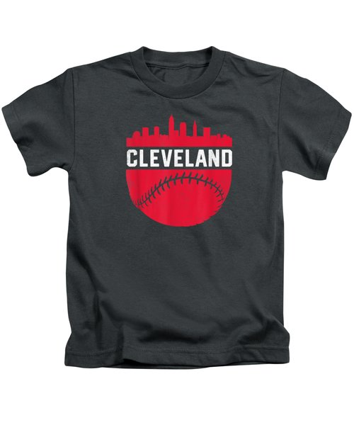Vintage Downtown Cleveland Ohio Skyline Baseball T-shirt Kids T-Shirt