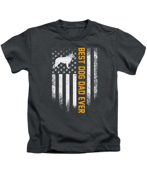 Vintage Usa Best German Shepherd Dog Dad Ever American Flag T-shirt Kids T-Shirt