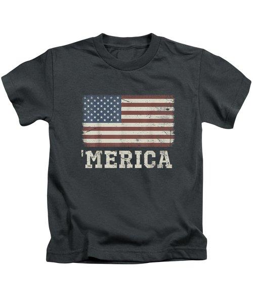 Vintage Usa Flag 'merica T-shirt Kids T-Shirt