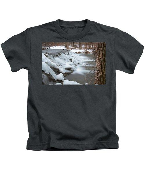 Waterfall At Bonneyville Mill Kids T-Shirt