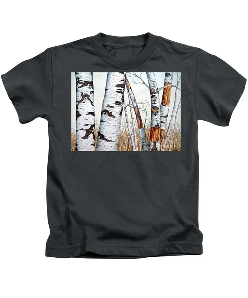 Wild Birch Trees In The Forest In Watercolor Kids T-Shirt