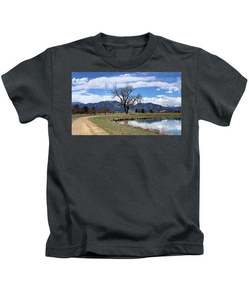 Winding Path Tree Mountains Kids T-Shirt