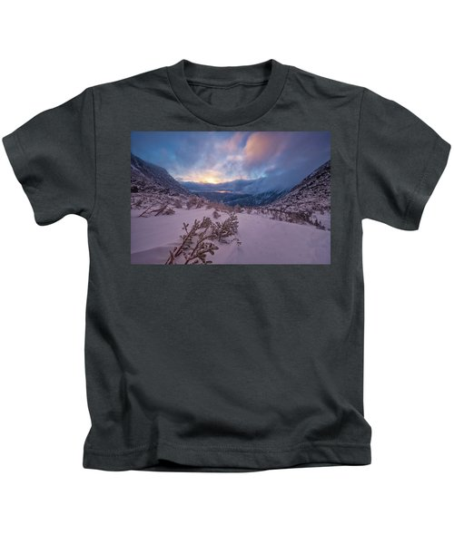 Windswept, Spring Sunrise In Tuckerman Ravine Kids T-Shirt