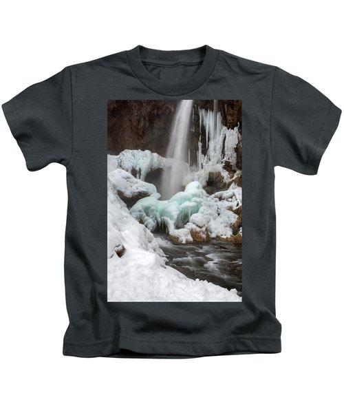 Winter At Rifle Falls Colorado Kids T-Shirt