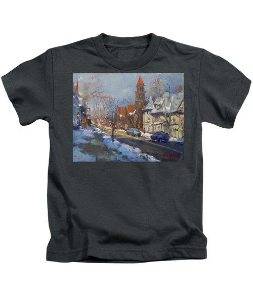 Winter In Elmwood Ave Buffalo Ny Kids T-Shirt