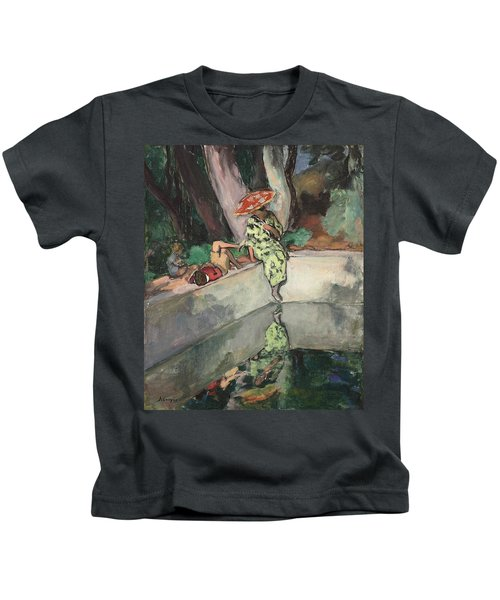 Woman And Children Near The Bassin, 1923 Kids T-Shirt
