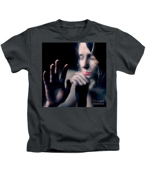 Woman Portrait Behind Glass With Rain Drops Kids T-Shirt