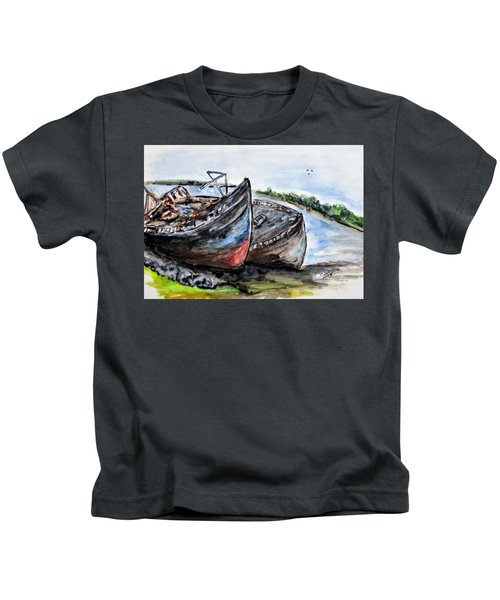 Wrecked River Boats Kids T-Shirt
