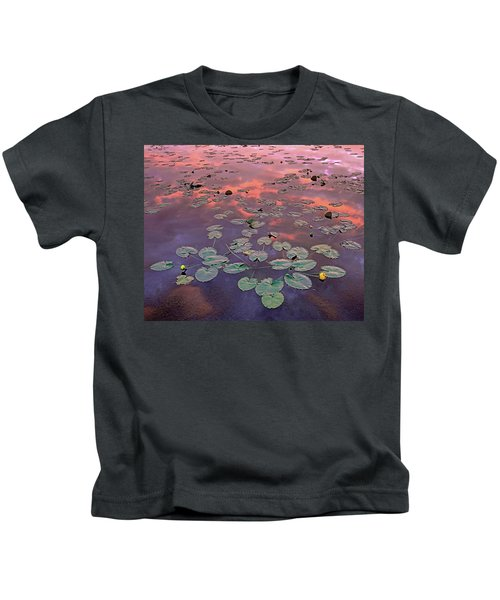Yellow Pond Lilies At Sunset, North Kids T-Shirt