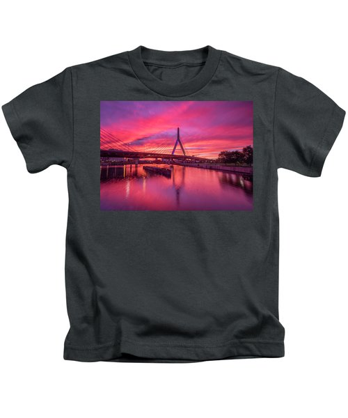 Zakim Bridge Sunset Kids T-Shirt