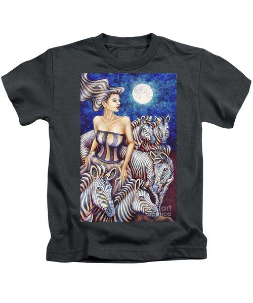 Zebra Moon Kids T-Shirt