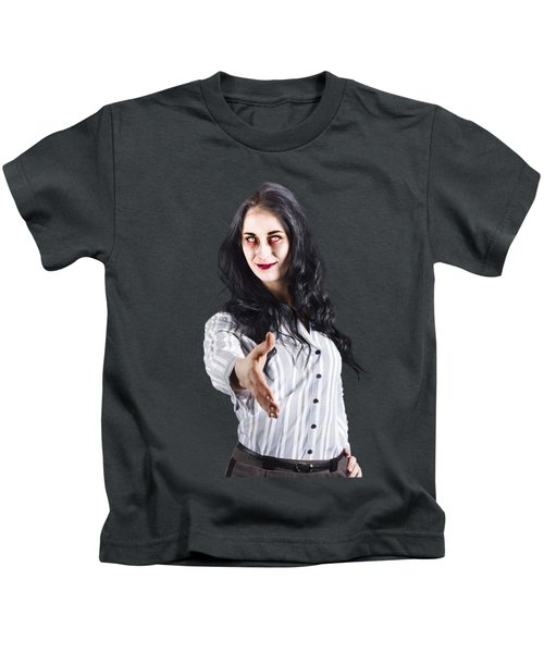 Zombie Offers Her Hand Kids T-Shirt