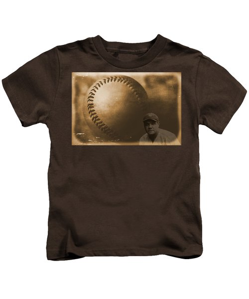 A Tribute To Babe Ruth And Baseball Kids T-Shirt by Dan Sproul