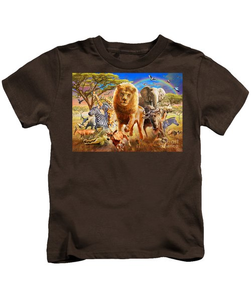 African Stampede Kids T-Shirt by Adrian Chesterman