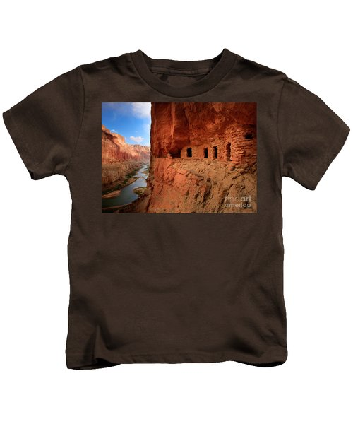 Anasazi Granaries Kids T-Shirt by Inge Johnsson