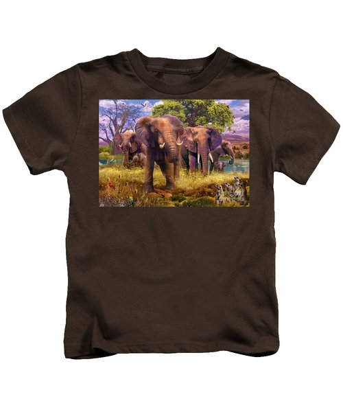 Elephants Kids T-Shirt by Jan Patrik Krasny