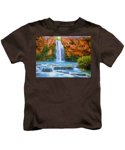 Havasu Falls Kids T-Shirt by David Wagner