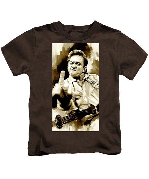 Johnny Cash Artwork 2 Kids T-Shirt by Sheraz A