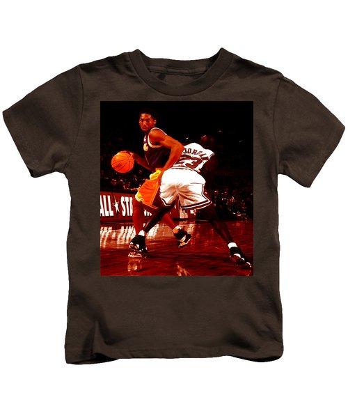 Kobe Spin Move Kids T-Shirt by Brian Reaves