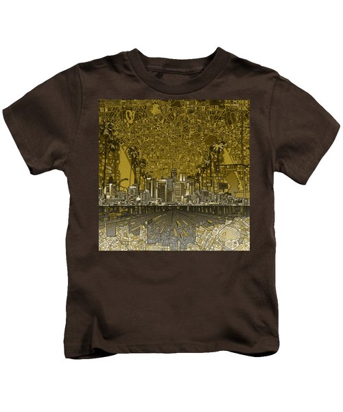 Los Angeles Skyline Abstract 4 Kids T-Shirt